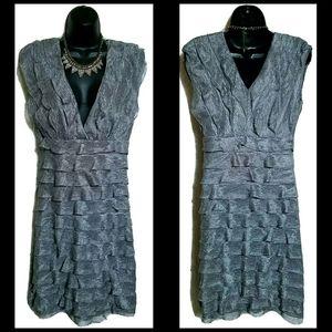 Halo Silver Lace Sleeveless V Neck Ruffle Dress M